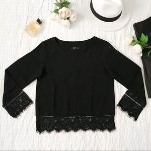 Black eyelash lace trim blouse